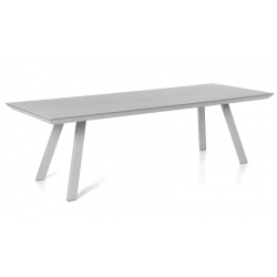Table rectangulaire Versace plateau verre dépoli gris clair et pieds en alu gris argent L220xP100xH76 cm