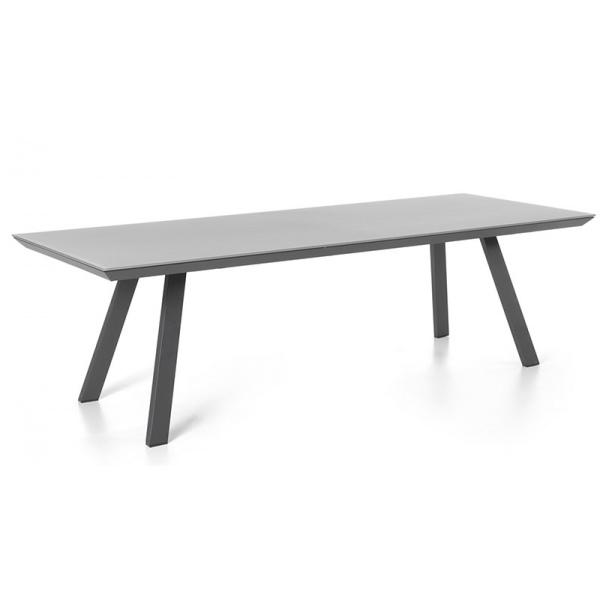 Table Rectangulaire Versace Plateau Verre Depoli Gris Fonce Et