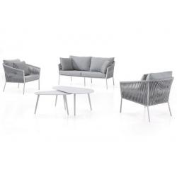 Fauteuil Gabon cadre alu charcoal et assise et coussins gris foncé L78xP87xH95 cm