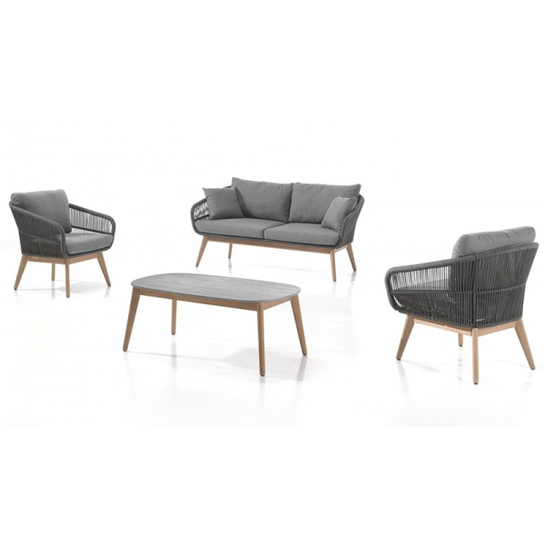 Salon Améla gris et piètement eucalyptus : 2 fauteuils + canapé 2 places +  coussins + table basse en duranite