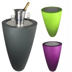 Pot de fleurs conique 200 l 2 en 1 avec bac amovible et tablette inox