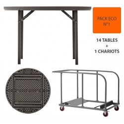Pack Eco 1 : 14 tables pliantes Excellence ø 122 cm + 1 chariot