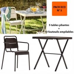 Pack Eco 5 : 5 tables pliantes bistrot 68,6 x 68,6 cm + 10 fauteuils empilables Excellence