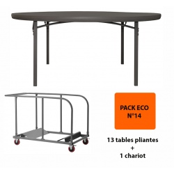 Pack Eco 14 : 13 tables pliantes Excellence ø 182,8 cm + 1 chariot