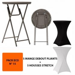 Pack Eco 15 : 5 mange-debout pliants Excellence ø 76,2 x h110,8 cm + 5 housses stretch