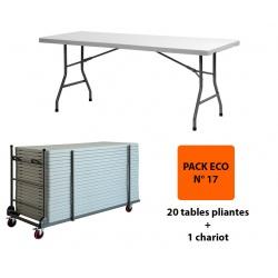 Pack Eco 17 : 20 tables pliantes polyéthylène 182,88 x 76,2 cm + 1 chariot