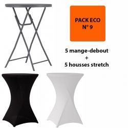 Pack Eco 9 : 5 mange debout pliants Q+ ø 81,3 x h110 cm + 5 housses stretch