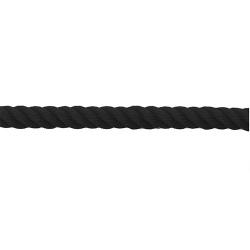 Cordon polypropylène torsadé 2 m noir avec embouts acier finition laiton