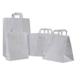 Sacs cabas poignées plates kraft blanc 32+21,5x27 (le carton de 250)