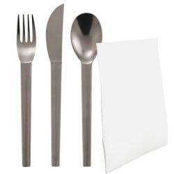 Lot de 100 kits traiteur 3 pièces inox (fourchette, couteau, cuillère à café) + 1 serviette en papier