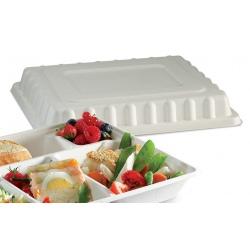 Carton de 200 Couvercles fibre végétale biodégradables pour plateaus repas