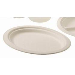 Carton de 500 assiettes jetables ovale Ø 26 cm ivoire fibre végétale biodégradables