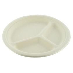 Carton de 500 assiettes jetable ronde Ø 26 cm 3 compartiments fibre végétale biodégradables