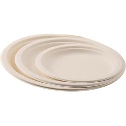 Carton de 500 assiettes jetable plate Ø 23 cm ivoire fibre végétale biodégradables