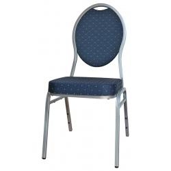 Chaise empilable Confort non feu bleu et argent