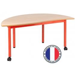 Table maternelle modulable plateau stratifié 21 mm 1/2 rond 120 cm cm T4