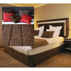 Lot de 6 chemins de lit Céline réversibles tissus microfibre coins droits 65x240 cm