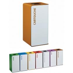 Poubelle de tri sélectif Cube 40L blanc tri cartouches sans serrure