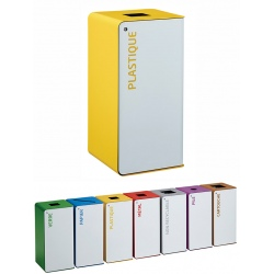 Poubelle de tri sélectif Cube 40L blanc tri plastique avec serrure