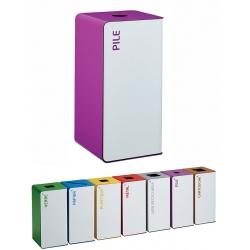 Poubelle de tri sélectif Cube 40L blanc tri piles sans serrure