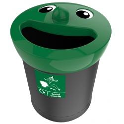 Poubelle de tri sélectif Sourire couvercle vert déchets alimentaires 52 L