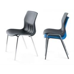 Chaise coque empilable Jeanne M2 pieds chromés ø 22 mm