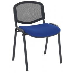 Chaise empilable dos résille assise tissu enduit M1 pieds noirs