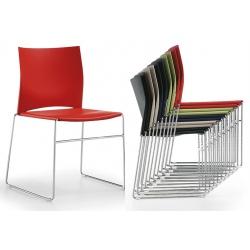 Chaise coque polypropylène empilable Web pieds chromés