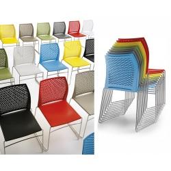 Chaise coque polypropylène empilable Neto pieds chromés