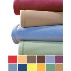 Lot de 10 couvertures unies 180x220 cm 100% polyester maille polaire non feu 320g