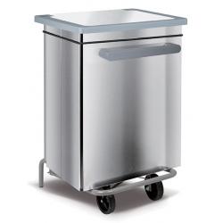 Conteneur mobile à pédale acier blanc 70 litres