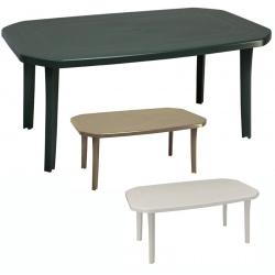 Lot de 6 tables Miami avec trou de parasol 165x100 cm