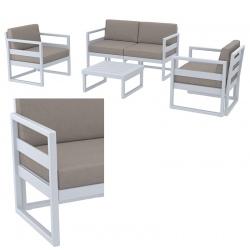 Ensemble Azur : 1 table, 1 banquette, 2 fauteuils et coussins