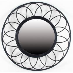 Miroir bambou noir ø 55 cm
