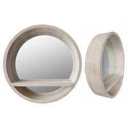 Miroir bois avec étagère ø 48 cm