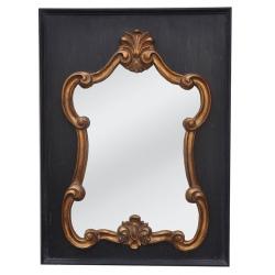 Miroir Baroque noir et doré L77 x H104 cm