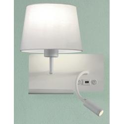 Applique étagère Milly blanche avec USB et liseuse LED droite