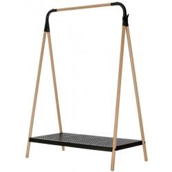 Vestiaire fixe cadre hêtre et métal noir L105 x P54,5 H142 cm