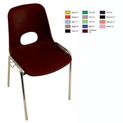 Chaise coque empilable et accrochable Karine M2 pieds chromés ø 18 mm