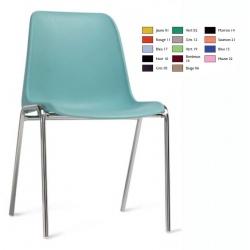 Chaise coque empilable Stéphy M2 pieds chromés ø 22 mm
