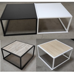 Lot de 4 tables basses empilables avec plateau carré MDF