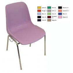 Chaise coque empilable et accrochable Stéphy M2 pieds chromés ø 18 mm
