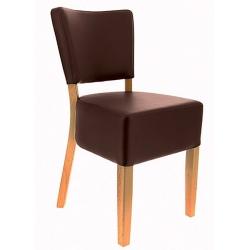 Lot de 2 chaises Amsterdam hêtre et simili cuir chocolat