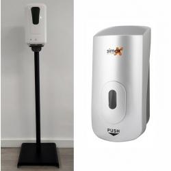 Distributeur de savon liquide ou gel hydroalcoolique Elégance Métal 1 L sur poteau