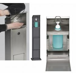 Distributeur de lavage des mains avec poubelle en inox