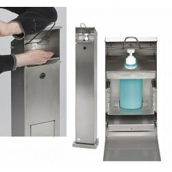 Distributeur de lavage des mains sans poubelle en acier argent antique
