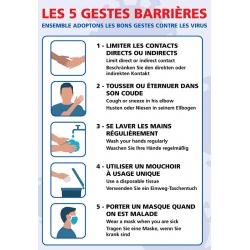 """Signalétique adhésif mur """"LES 5 GESTES BARRIERES"""" L21 x H30 cm"""