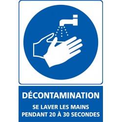 """Signalétique adhésif mur """"DECONTAMINATION"""" lavage des mains L15 x H21 cm"""