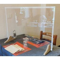 Grande protection plexi avec passe document pieds bois L90 x H60 cm