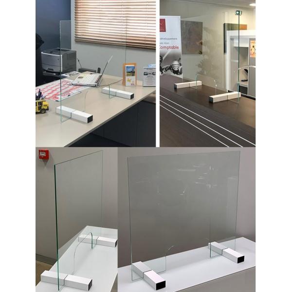 Ecran de protection en verre de sécurité avec passe documents L90 x H70 cm